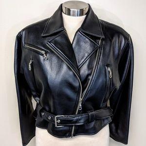 BB Dakota Vegan Leather Cropped Motorcycle Jacket
